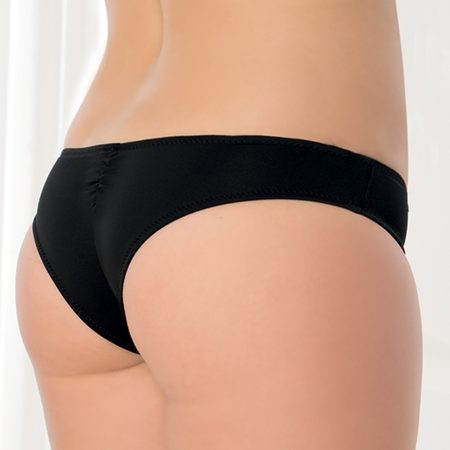 Aqua Perla- Womens-Pinamar- Black- Brazilian Bikini Bottom-0