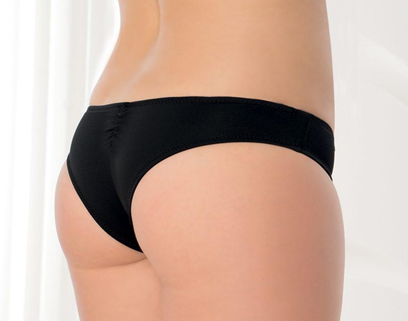 Aqua Perla- Womens-Pinamar- Black- Brazilian Bikini Bottom-4894