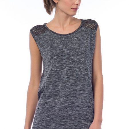 Jerf- Womens-Cape-Grey Melange-Seamless Active Top with Mesh-0