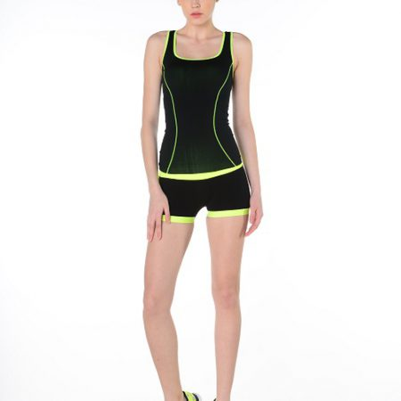Jerf- Womens-Mahe- Black Yellow-Seamless Active Short-0