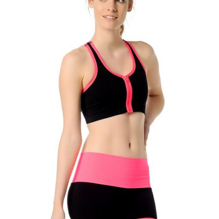 Jerf- Womens-Santos-Black Pink-Sports Bra with Zip-0