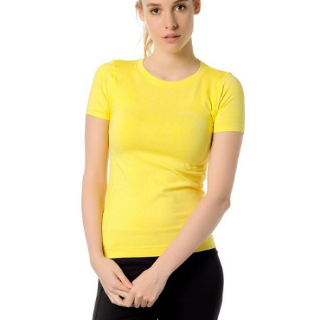 Jerf- Womens-Rodia-Yellow-Seamless Performance Tee Shirt-0