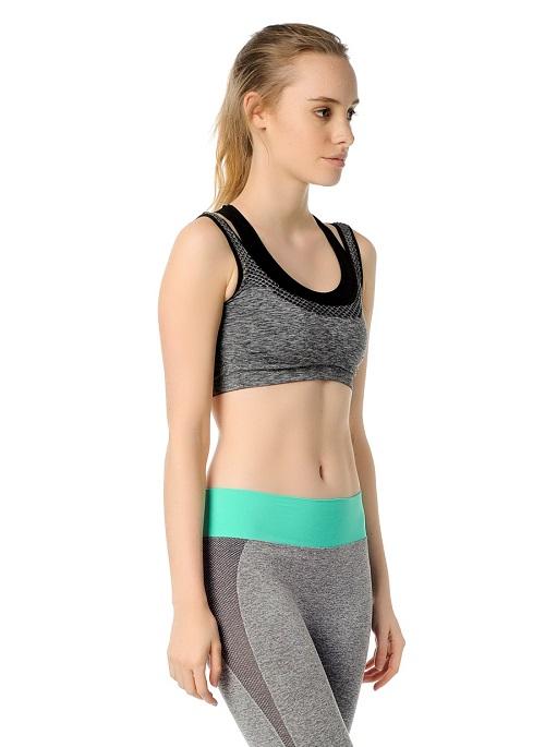 Jerf- Womens-Utah-Black Melange-Seamless Sports Bra-3947