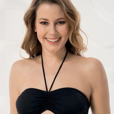 Aqua Perla- Womens-Madeira-Black-Bandeau Bikini Top-0