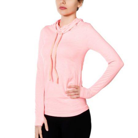 Jerf - Womens-Edzo- Coral & Pink Melange- Scarf Collar Seamless Sweatshirt-0