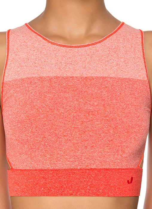 Jerf- Womens-Lima-Red Melange-Seamless Crop Top-4761