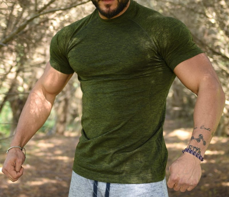 Jerf - Mens-Forio- Green Melange - Active Tee Shirt-0