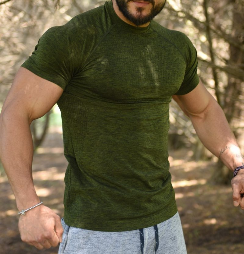 Jerf - Mens-Forio- Green Melange - Active Tee Shirt-4637