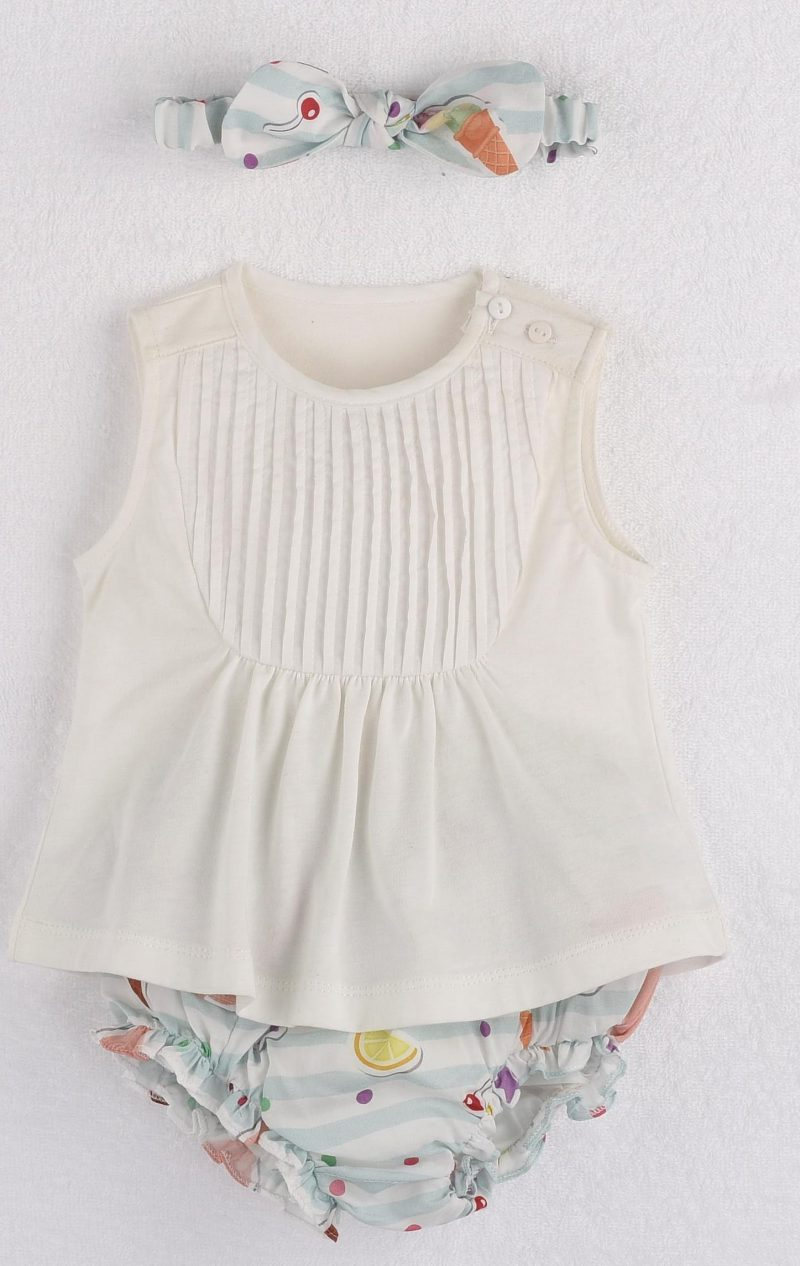 Mamino- Baby-Girl- Leonor- Printed Bloomer and headband - White Top - 3 Pieces Set-5036