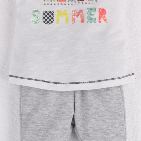 Mamino- Baby - Girl- Hello Summer Grey Pant and White Sleeveless Tee Shirt with Sequin and Glitter Print-0