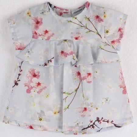Mamino-Girl-Blossom- Printed Blouse Ruffle Short Sleeves-0