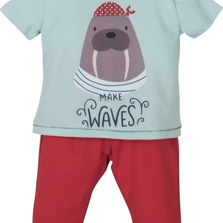 Mamino-Baby-Boy-Waves-Red and Blue -Pajama Set-0