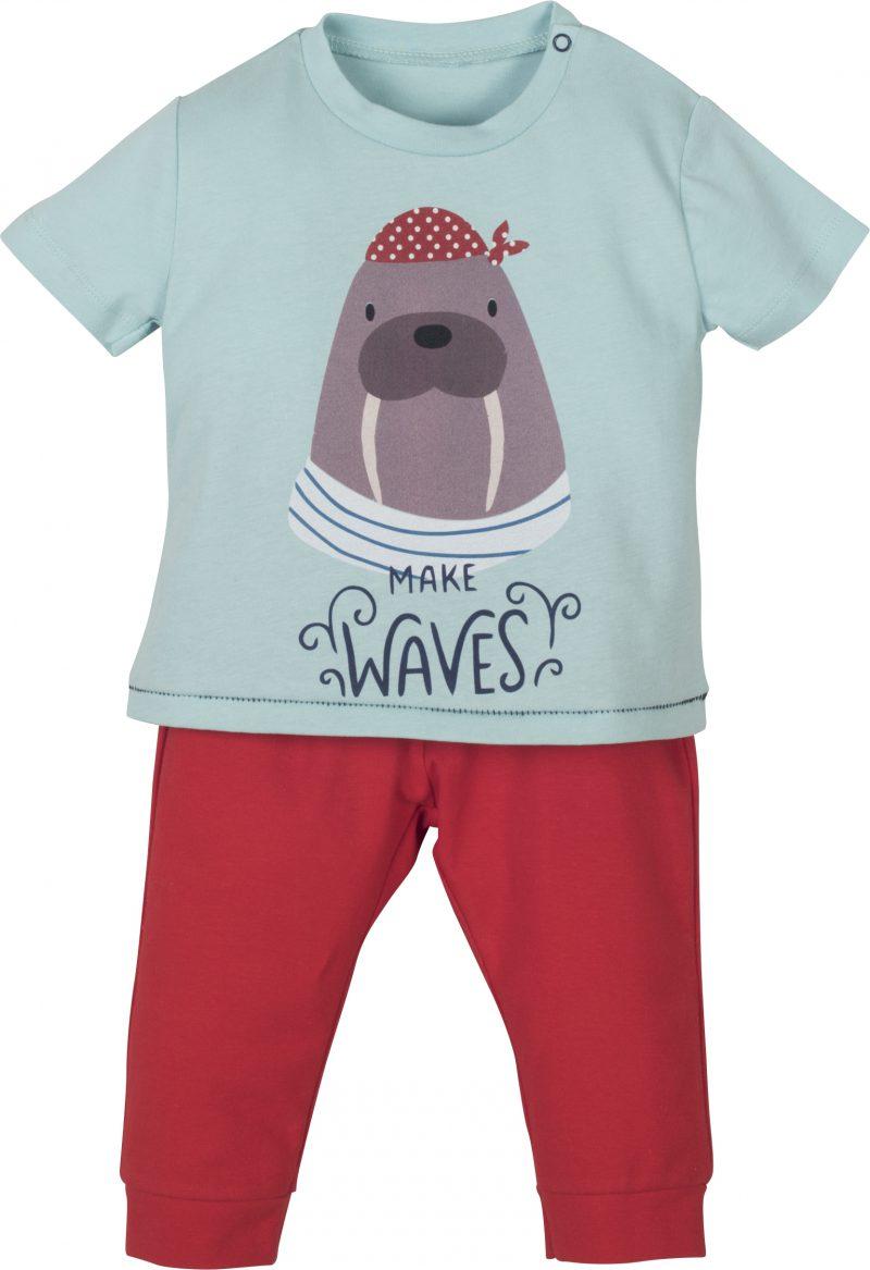 Mamino-Baby-Boy-Waves-Red and Blue -Pajama Set-0