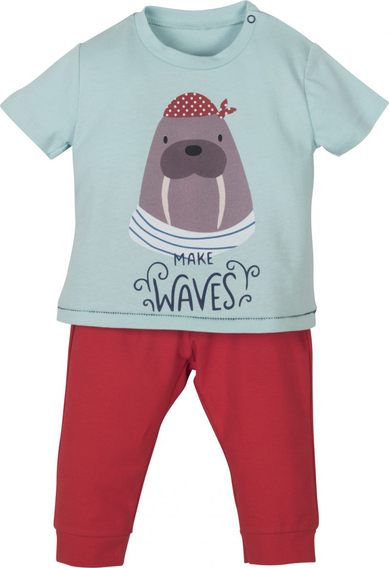 Mamino-Baby-Boy-Waves-Red and Blue -Pajama Set-5065