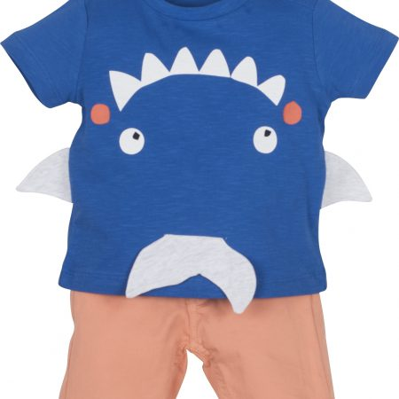 Mamino-Baby-Boy-Zoo- Blue Coral-Bermuda and T- Shirt Set-0