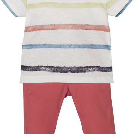 Mamino-Baby-Michael-White and Coral-Trouser and T Shirt Set-0