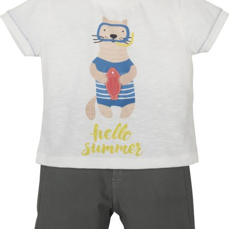Mamino-Baby-Boy-Karl-White Khaki-Bermuda and T- Shirt Set-0