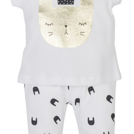 Mamino- Baby- Girl- Baskili- White 2 Pieces Pajama Set-0