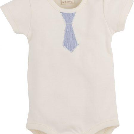 Idilbaby - Gots Organic- Boy- Baby - Albert - Cream - Body with Short Sleeves-0