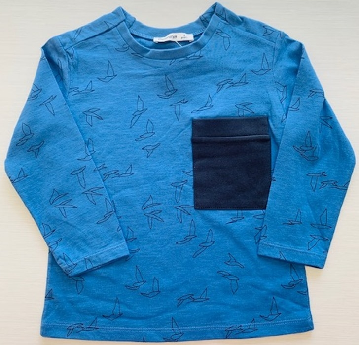 Mamino- Boy- Birdy - Blue - Long Sleeves Printed Tee Shirt -0