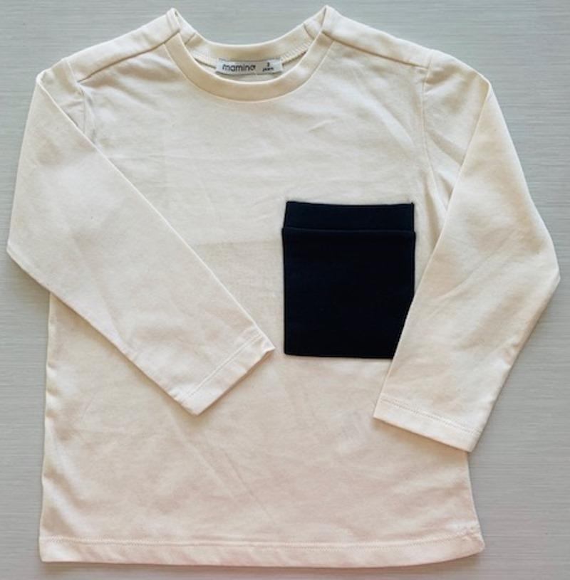 Mamino- Boy- Damien - Cream - Long Sleeves Printed Tee Shirt-5165