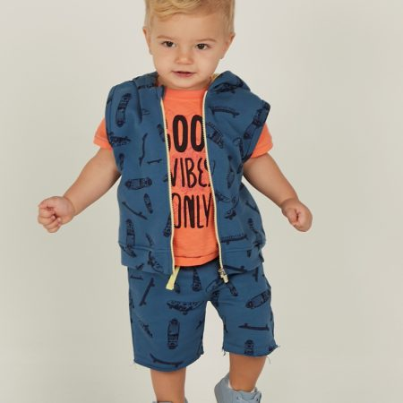 Mamino- Boy- Atom Top- Blue - Sleeveless Hoodie-0