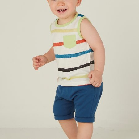 Mamino- Baby -Boy- Marcel- Blue Harem Short - and White Sleeveless Printed Tee Shirt 2 Pieces Set-0