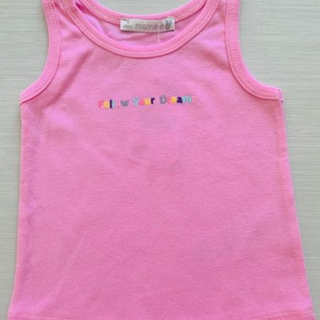 Mamino- Girl- Dreams-Pink - Singlet with Embroidery-0