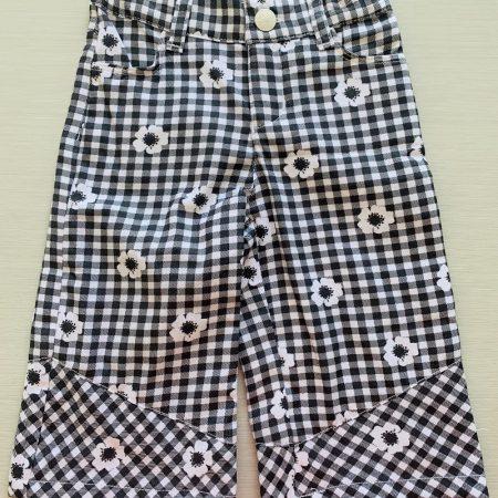 Mamino- Girl- Vichy - Black and White - Trouser-0