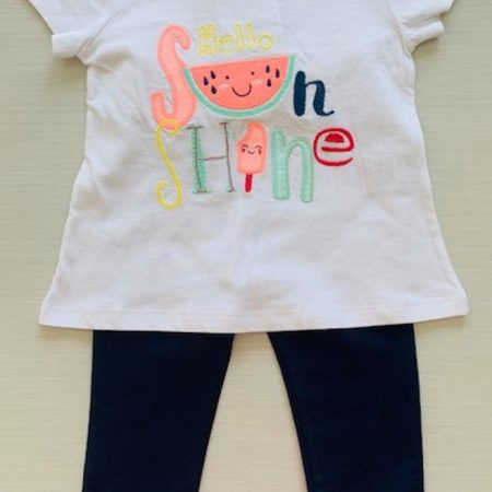 Mamino- Girl- Klara- Blue Ruffle Pant and Tee Shirt Set-0