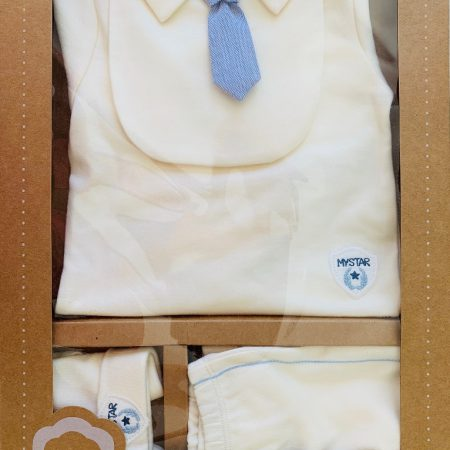 Idilbaby - Gots Organic- Boy- Baby - My Star - Cream - Trouser - Top with Bib - Hat - Set of 4 - in Gift Box-0